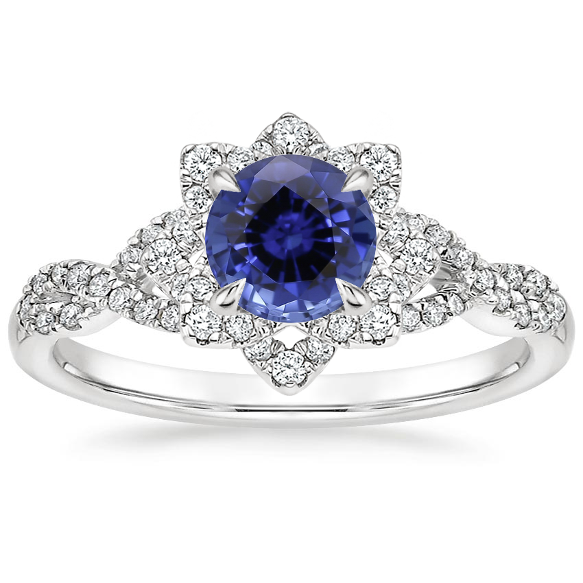 Sapphire Lily Diamond Ring in 18K White Gold