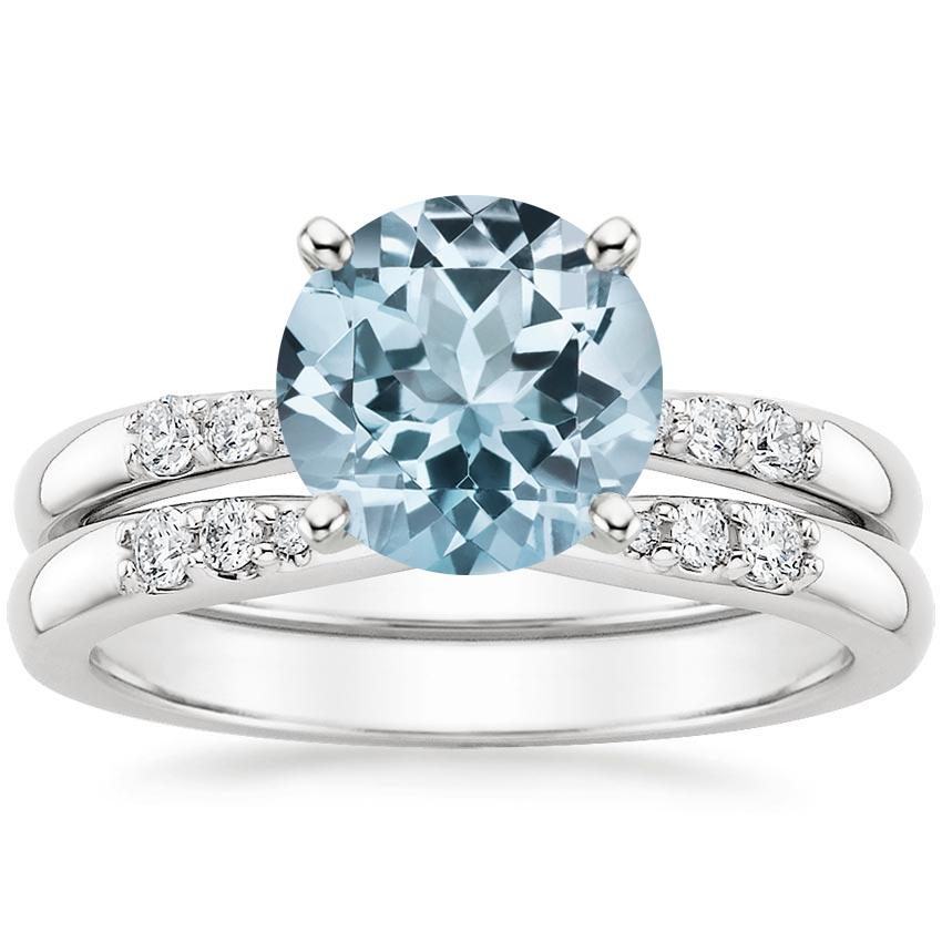 18KW Aquamarine Lark Diamond Bridal Set, top view
