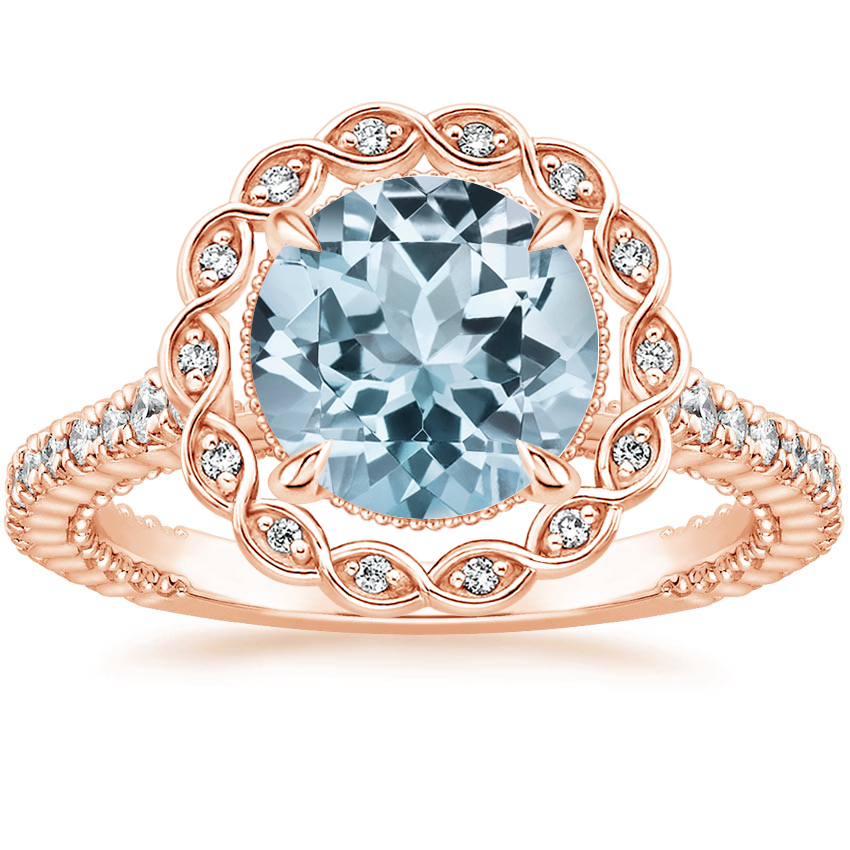 Rose Gold Aquamarine Magnolia Diamond Ring (1/3 ct. tw.)