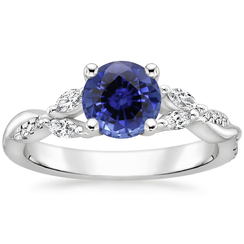 Sapphire Cassia Diamond Ring in 18K White Gold