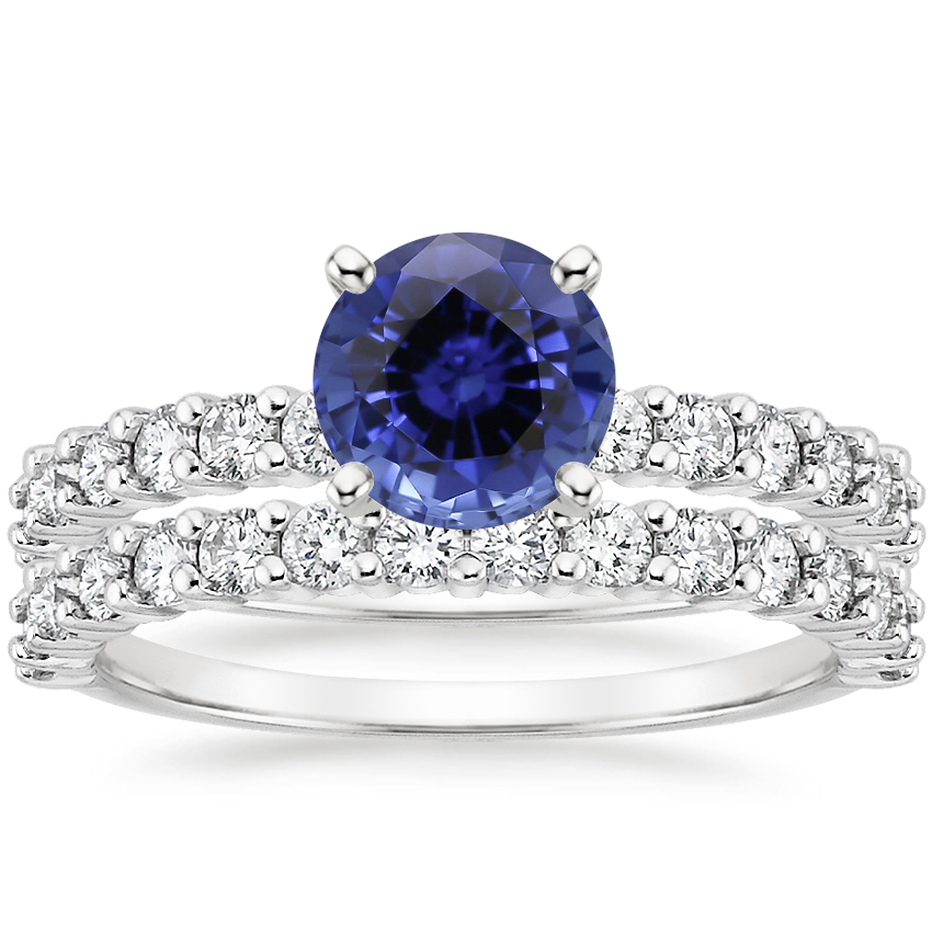 18KW Sapphire Shared Prong Diamond Bridal Set (7/8 ct. tw.), top view