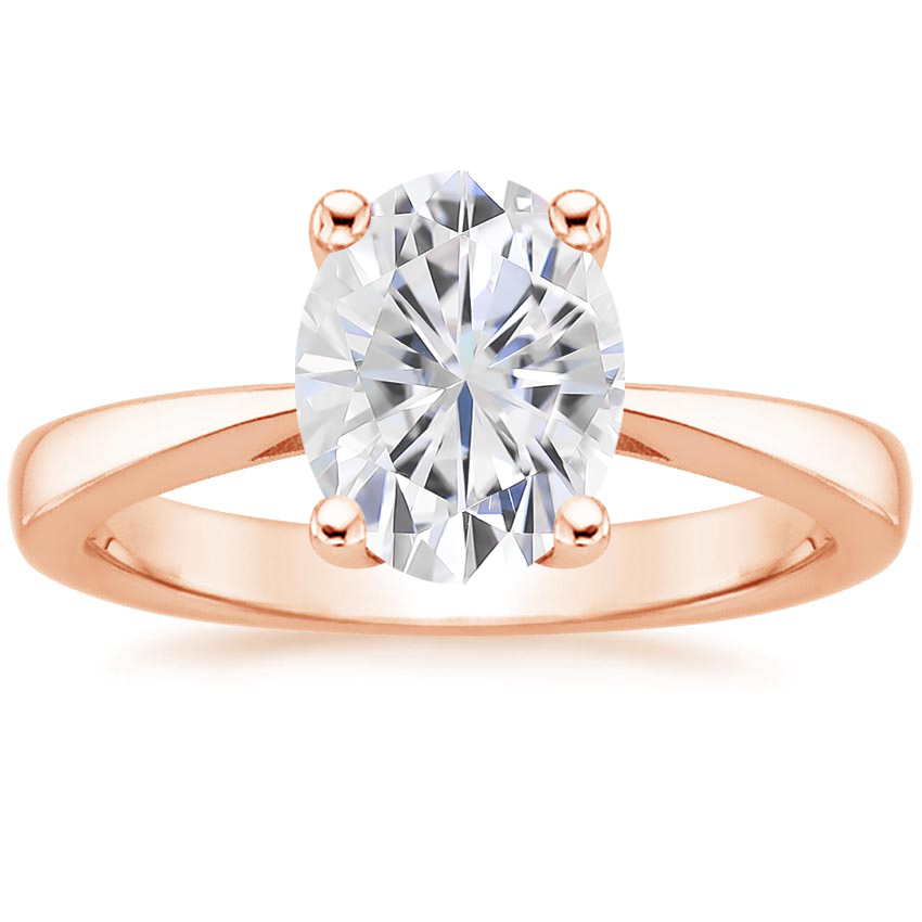 Rose Gold Moissanite Petite Tapered Trellis Ring