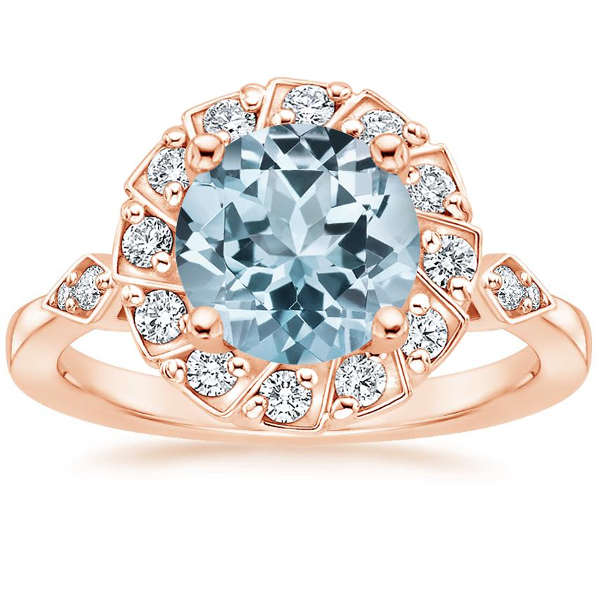 Rose Gold Aquamarine Geo Halo Diamond Ring