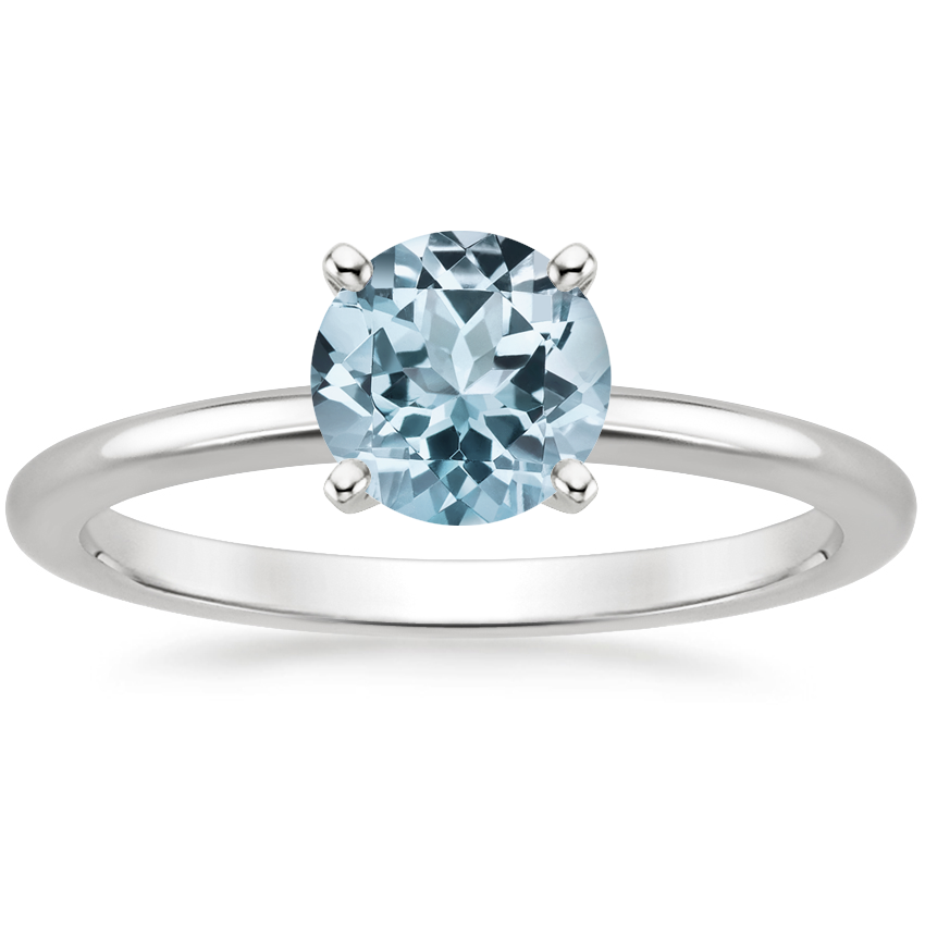 Aquamarine Four-Prong Petite Comfort Fit Ring in Platinum