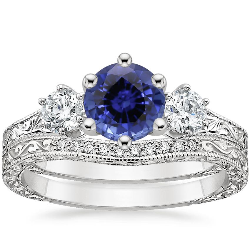 PT Sapphire Three Stone Hudson Bridal Set (1/3 ct. tw.), top view