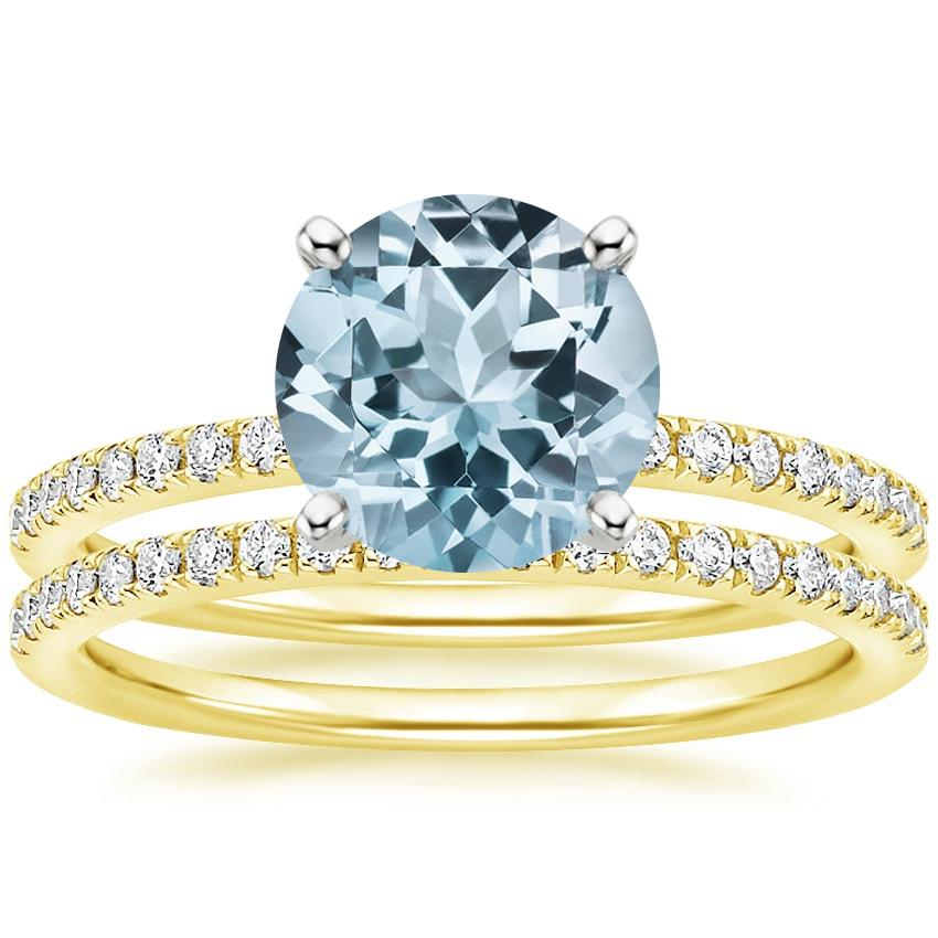 18KY Aquamarine Ballad Diamond Bridal Set (1/3 ct. tw.), top view