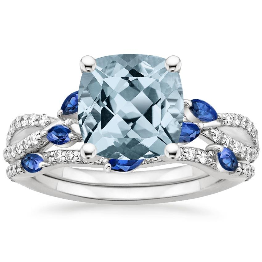 18KW Aquamarine Luxe Willow Sapphire and Diamond Bridal Set (1/4 ct. tw.), top view