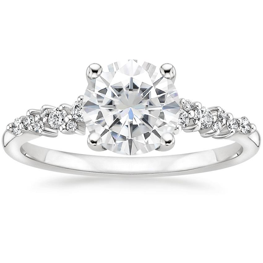 Moissanite Aurora Diamond Ring in 18K White Gold