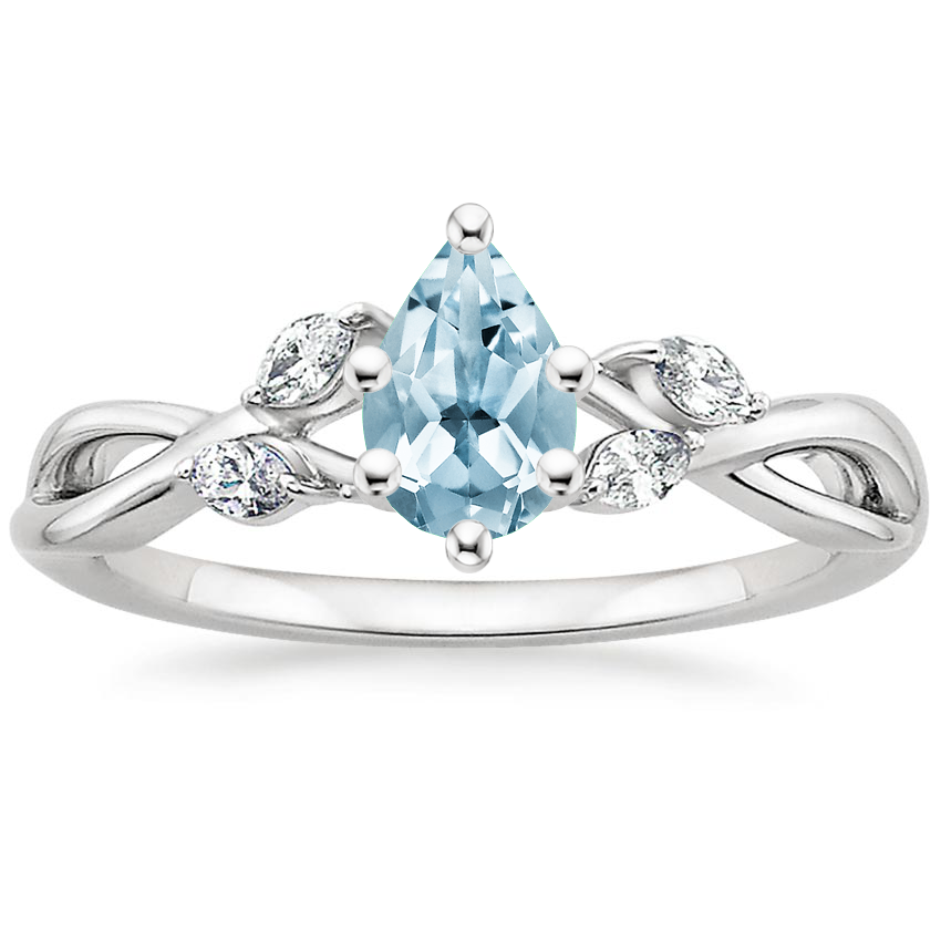 Aquamarine Willow Diamond Ring (1/8 ct. tw.) in Platinum