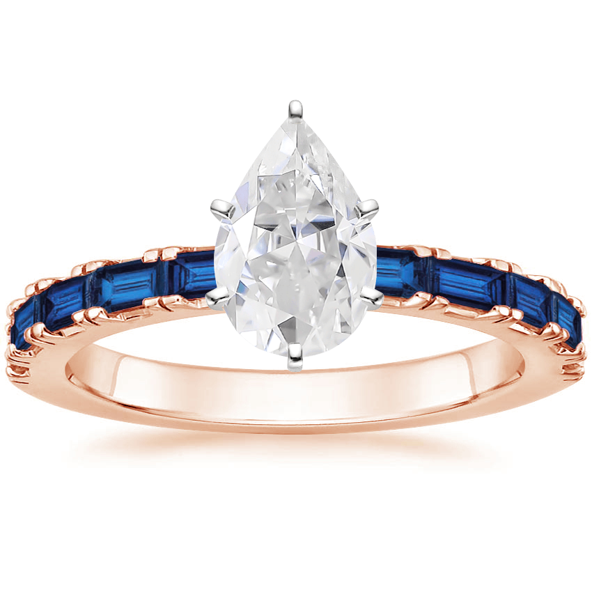 Rose Gold Moissanite Gemma Ring with Sapphire Accents