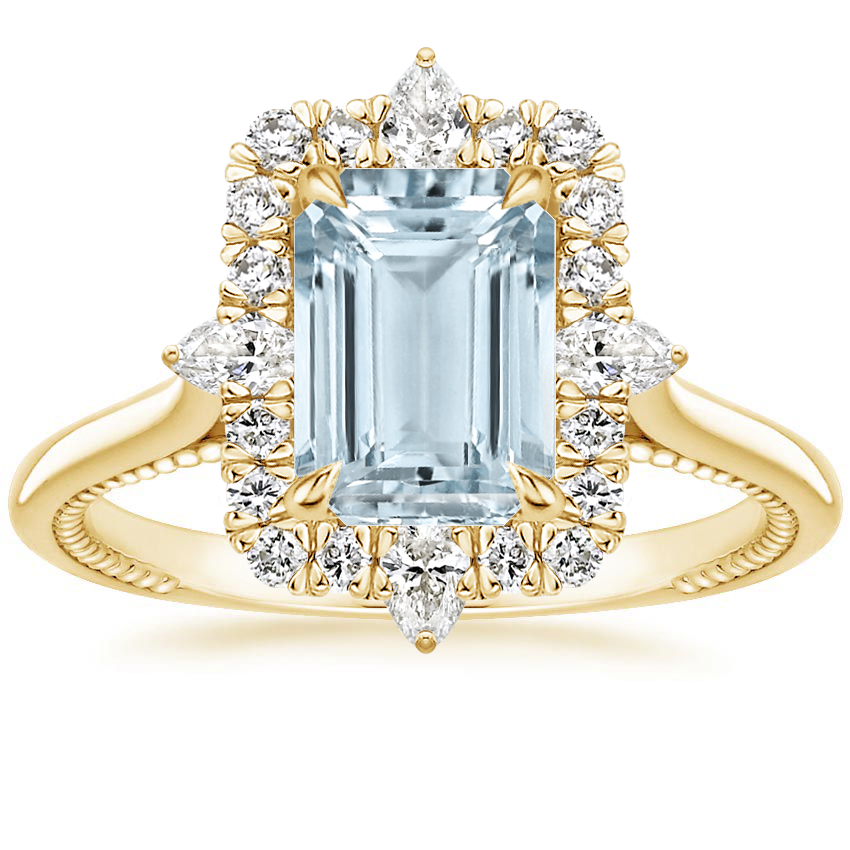 Yellow Gold Aquamarine Dahlia Diamond Ring (1/3 ct. tw.)