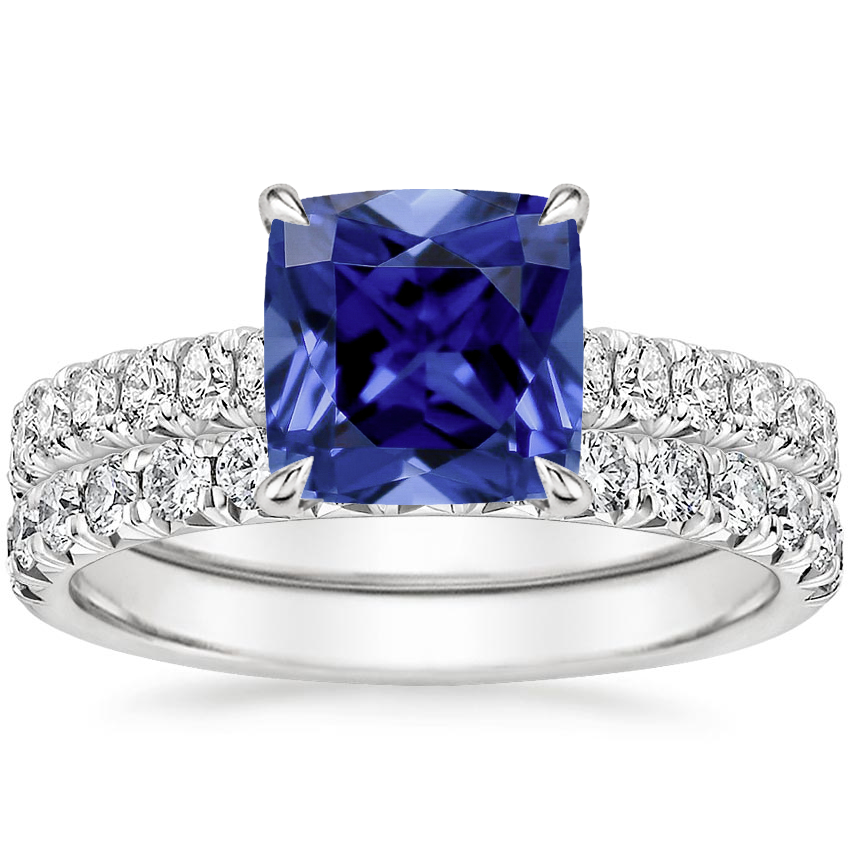 18KW Sapphire Sienna Diamond Bridal Set (7/8 ct. tw.), top view