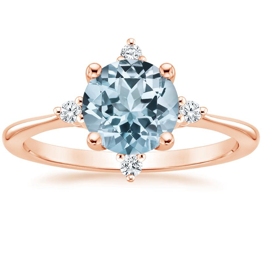 Rose Gold Aquamarine Luminesce Diamond Ring