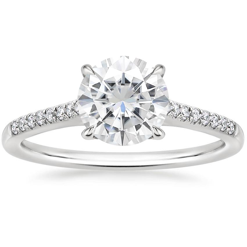 Moissanite Lissome Diamond Ring in 18K White Gold
