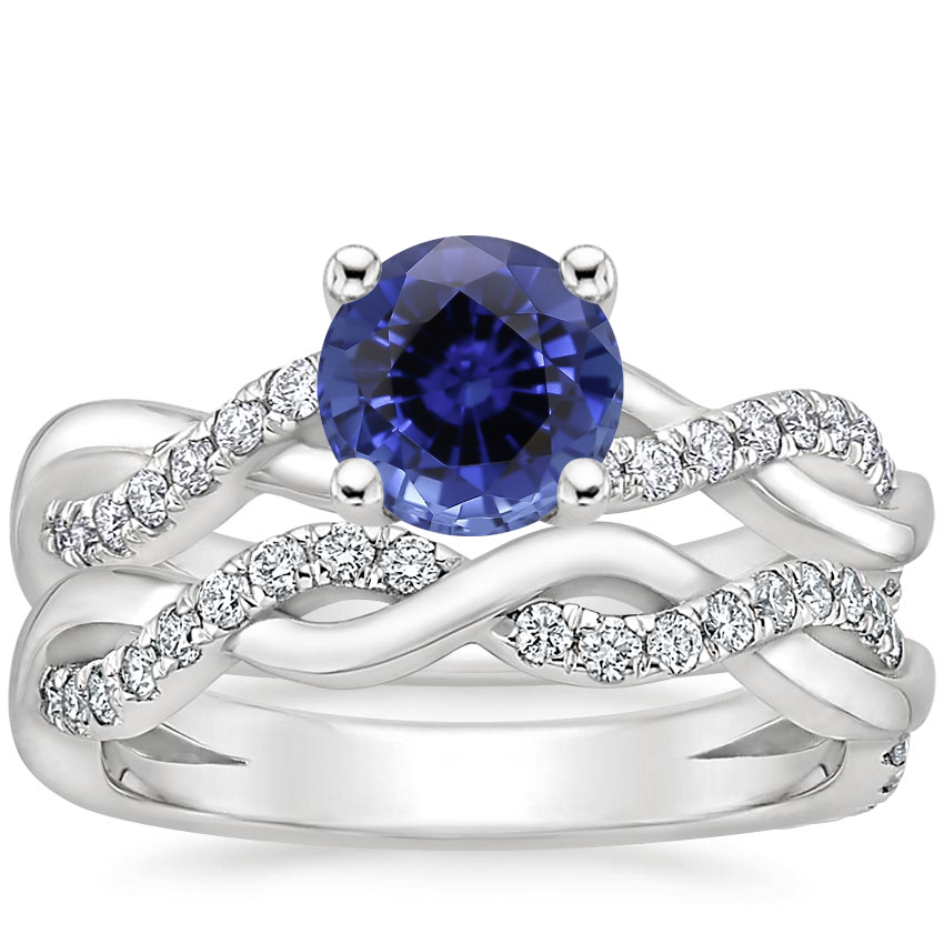 18KW Sapphire Braided Vine Diamond Bridal Set (1/2 ct. tw.), top view