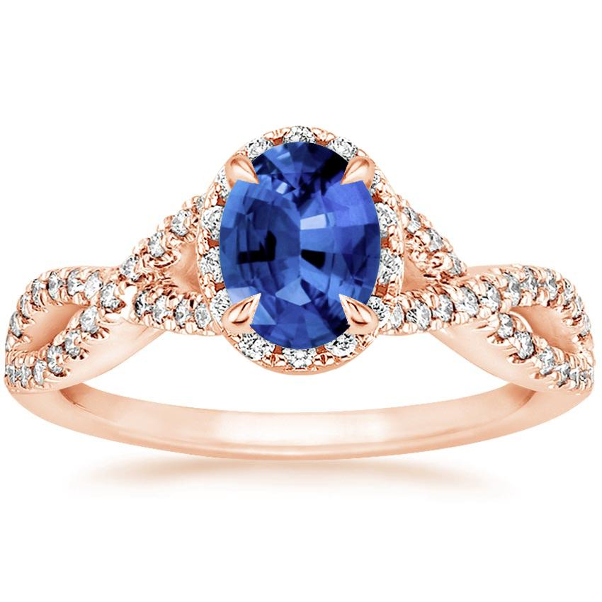 Rose Gold Sapphire Entwined Halo Diamond Ring (1/3 ct. tw.)
