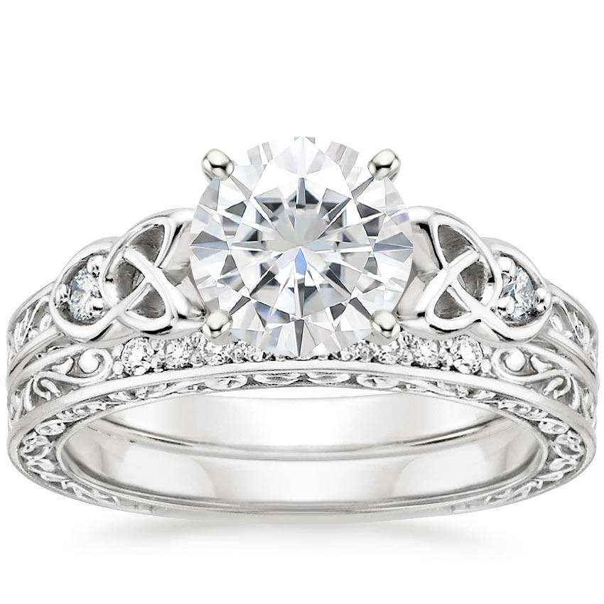 18KW Moissanite Aberdeen Diamond Bridal Set, top view