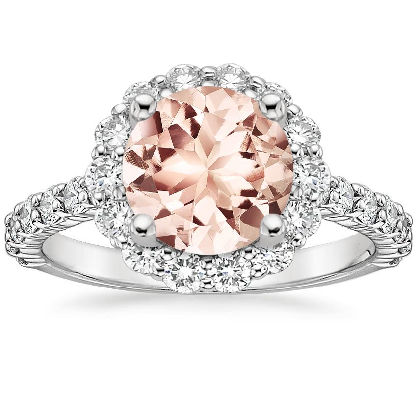 769fae18f73 18K White Gold Morganite Lotus Flower Diamond Ring with Side Stones (3/4  ct. tw.)