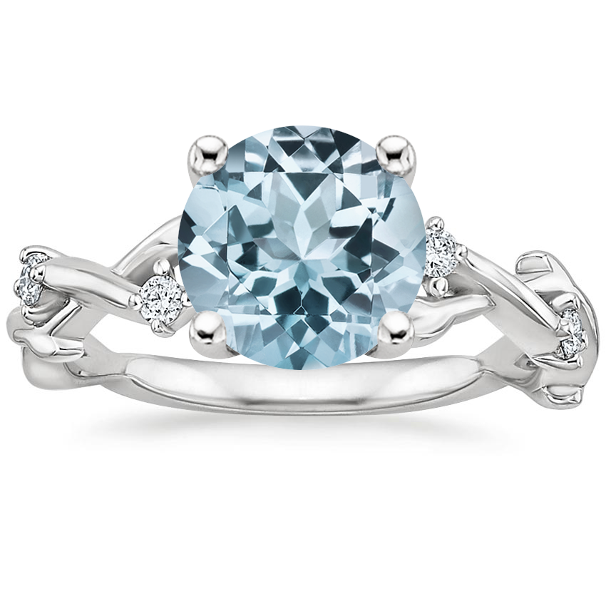 Aquamarine Liana Diamond Ring in 18K White Gold
