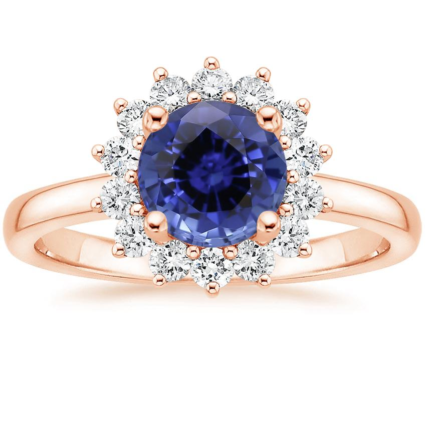 Rose Gold Sapphire Sunburst Diamond Ring (1/4 ct. tw.)