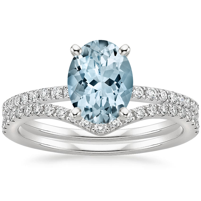 PT Aquamarine Ballad Diamond Ring (1/8 ct. tw.) with Flair Diamond Ring (1/6 ct. tw.), top view