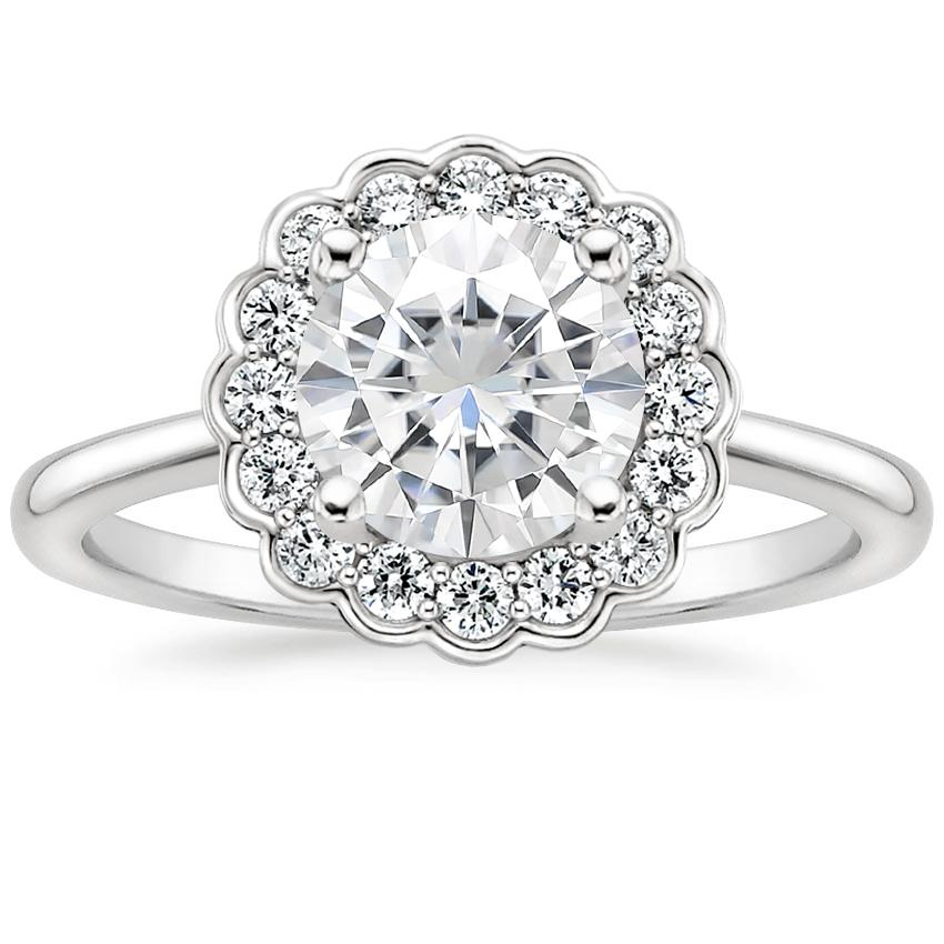 Moissanite Violette Diamond Ring in 18K White Gold