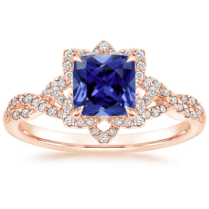 Rose Gold Sapphire Lily Diamond Ring