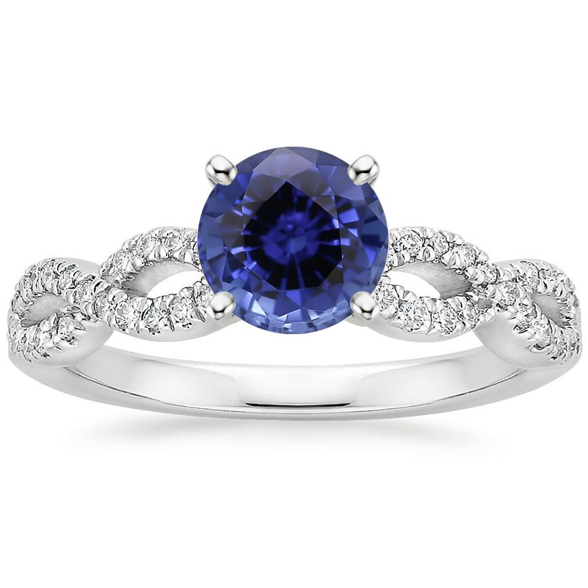 Sapphire Infinity Diamond Ring in 18K White Gold