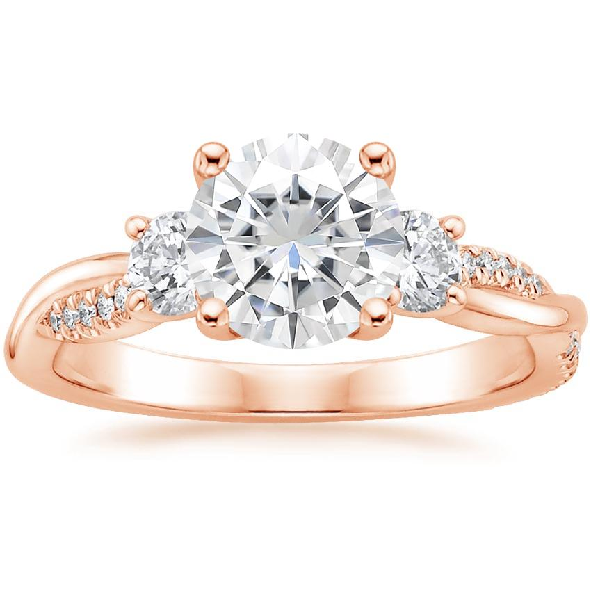 Rose Gold Moissanite Three Stone Petite Twisted Vine Diamond Ring (2/5 ct. tw.)