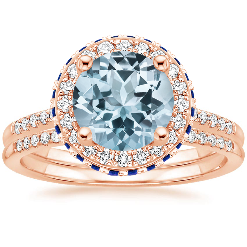 14KR Aquamarine Circa Diamond Ring with Sapphire Accents (1/4 ct. tw.) with Whisper Diamond Ring (1/10 ct. tw.), top view