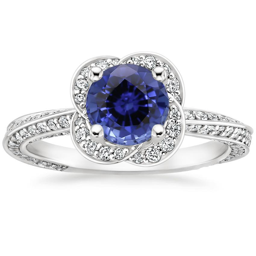 Sapphire Azalea Diamond Ring in Platinum