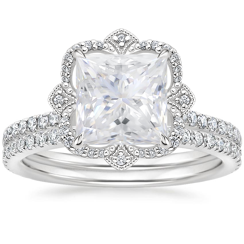 18KW Moissanite Reina Diamond Ring with Luxe Ballad Diamond Ring (1/4 ct. tw.), top view