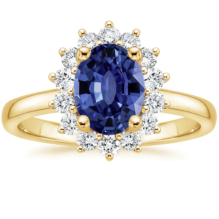 Yellow Gold Sapphire Sunburst Diamond Ring (1/4 ct. tw.)