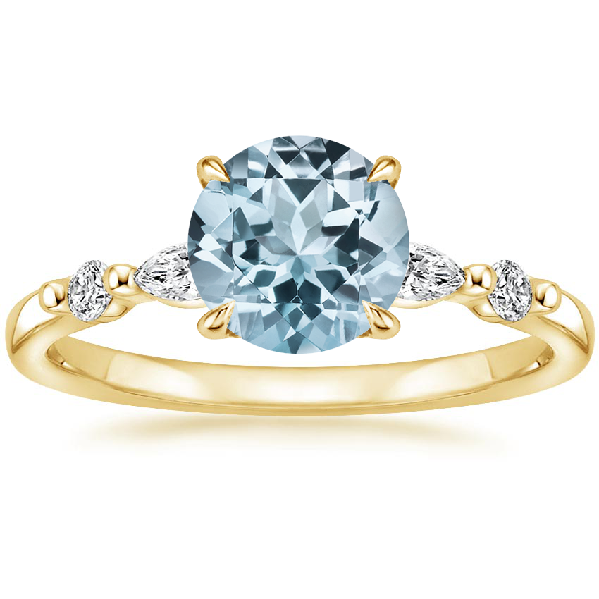 Yellow Gold Aquamarine Petite Versailles Diamond Ring (1/6 ct. tw.)
