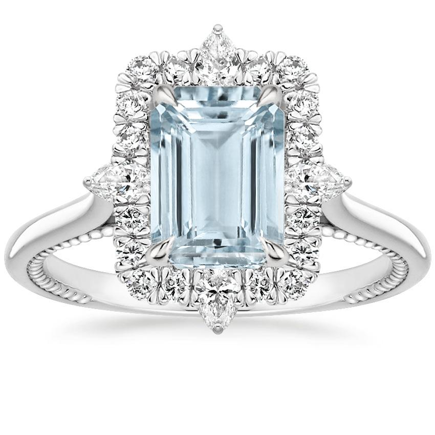 Aquamarine Dahlia Diamond Ring (1/3 ct. tw.) in 18K White Gold