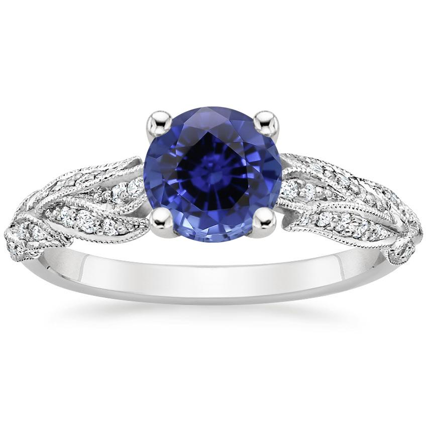 Sapphire Plume Diamond Ring in 18K White Gold
