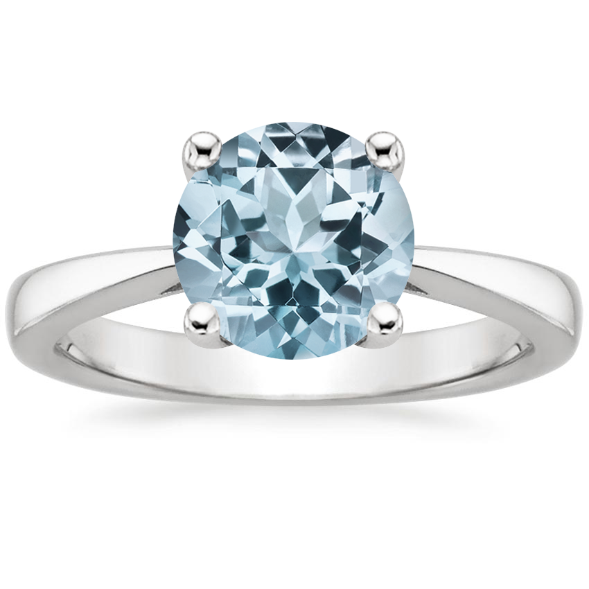Aquamarine Petite Tapered Trellis Ring in 18K White Gold