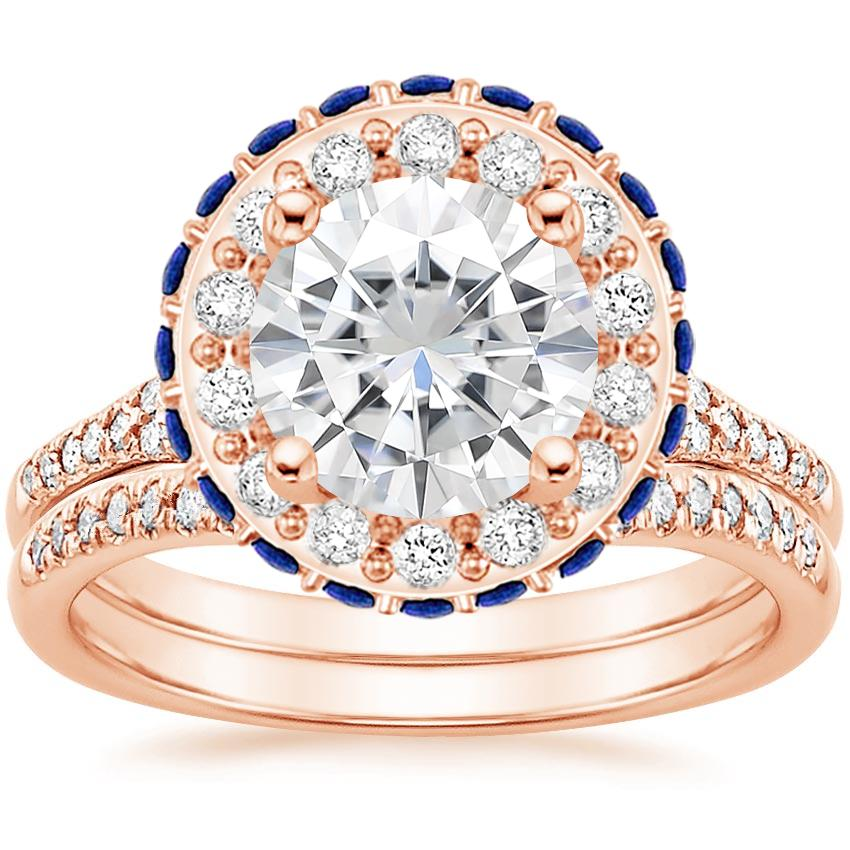14KR Moissanite Circa Diamond Bridal Set with Sapphire Accents (1/3 ct. tw.), top view