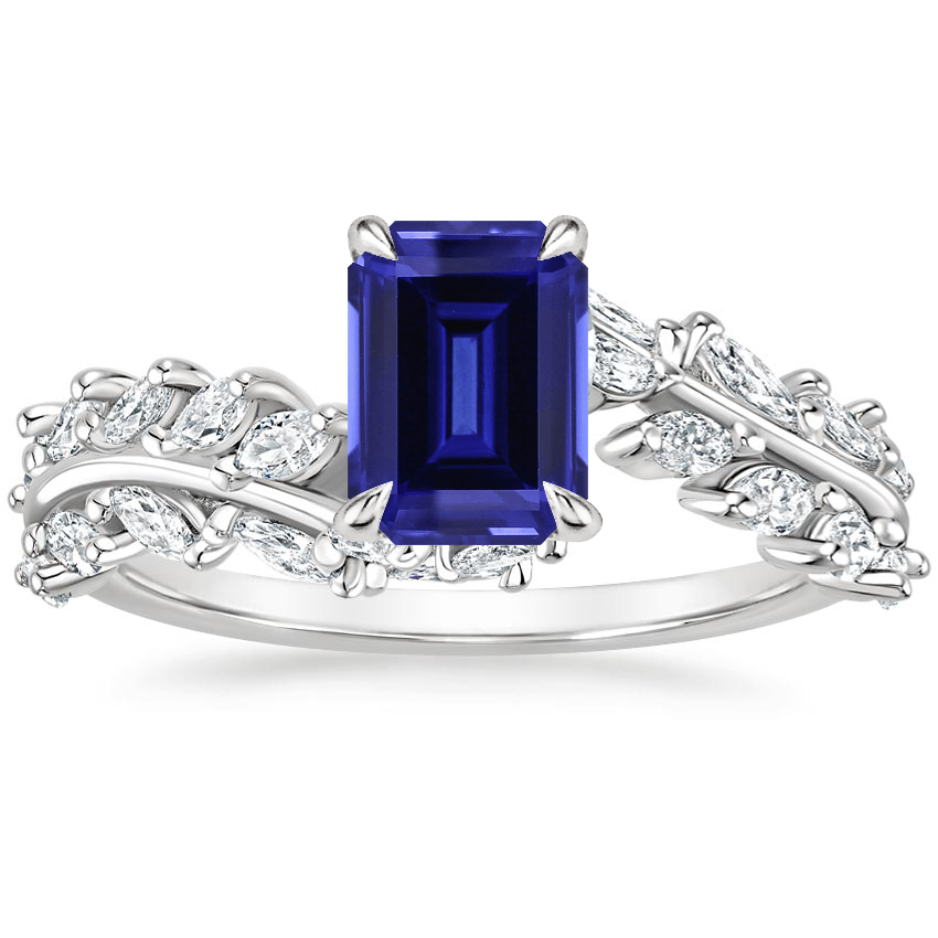 Sapphire Winding Ivy Diamond Ring (3/4 ct. tw.) in 18K White Gold