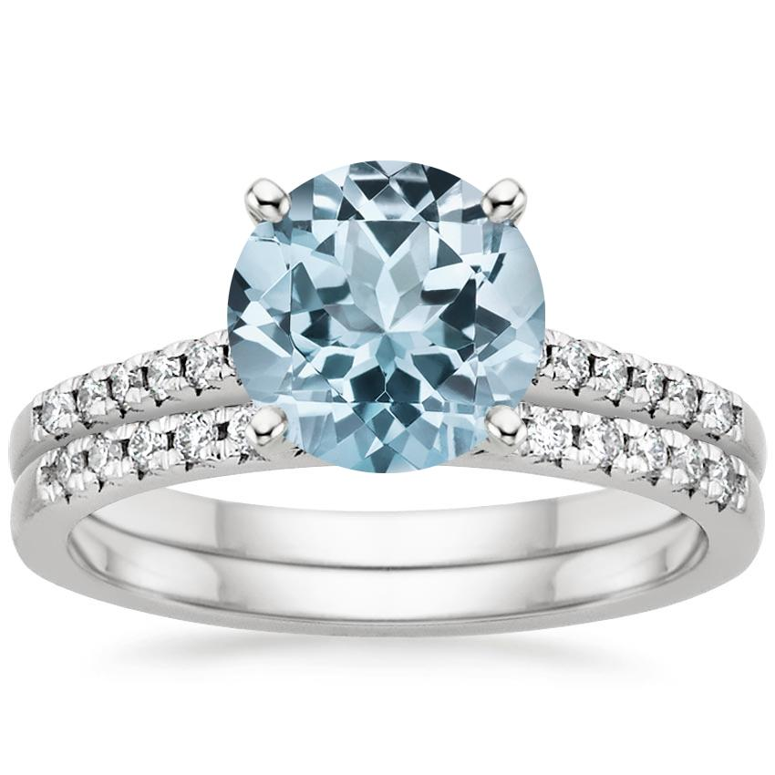18KW Aquamarine Sonora Diamond Bridal Set (1/4 ct. tw.), top view