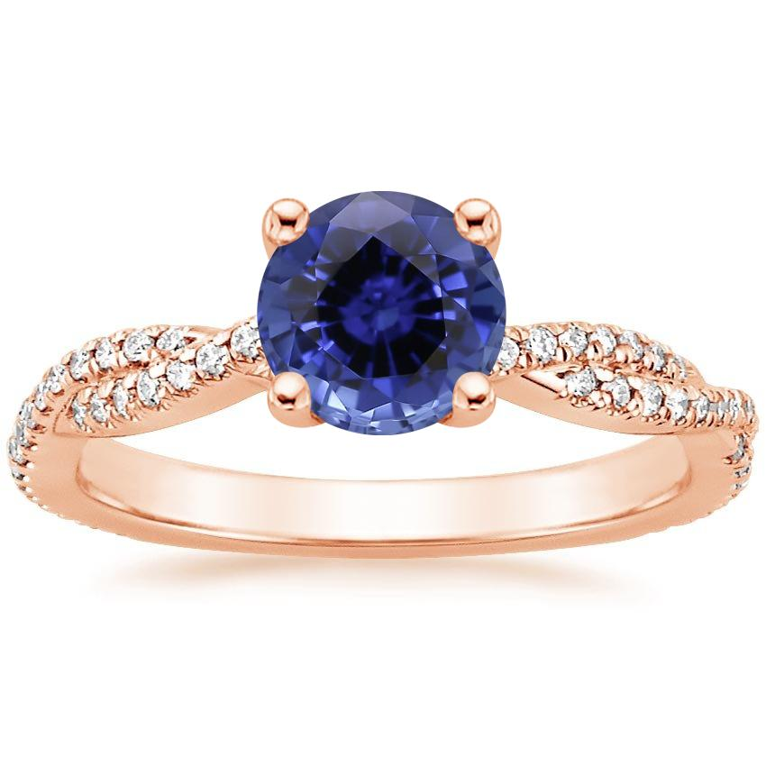 Rose Gold Sapphire Petite Luxe Twisted Vine Diamond Ring (1/4 ct. tw.)