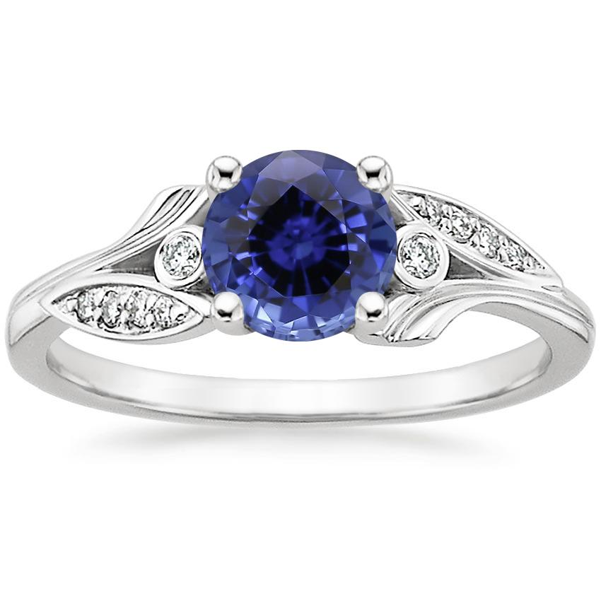 Sapphire Jasmine Diamond Ring in 18K White Gold