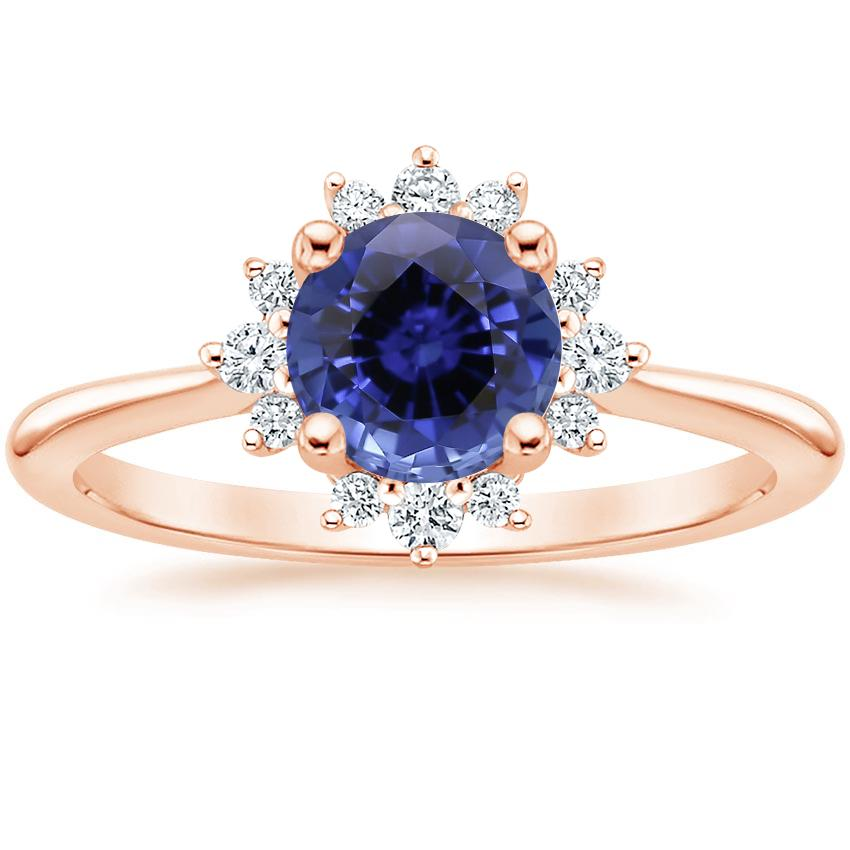 Rose Gold Sapphire Sol Diamond Ring