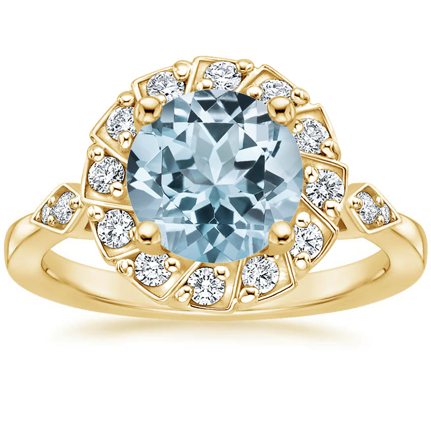 Yellow Gold Aquamarine Geo Halo Diamond Ring
