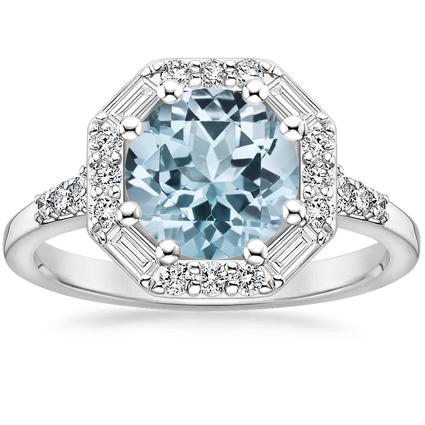 Aquamarine Octavia Diamond Ring (1/3 ct. tw.) in 18K White Gold