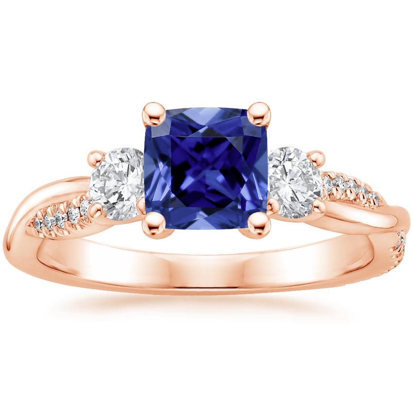 Rose Gold Sapphire Three Stone Petite Twisted Vine Diamond Ring (2/5 ct. tw.)