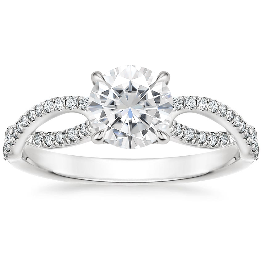 Moissanite Cascade Diamond Ring in 18K White Gold