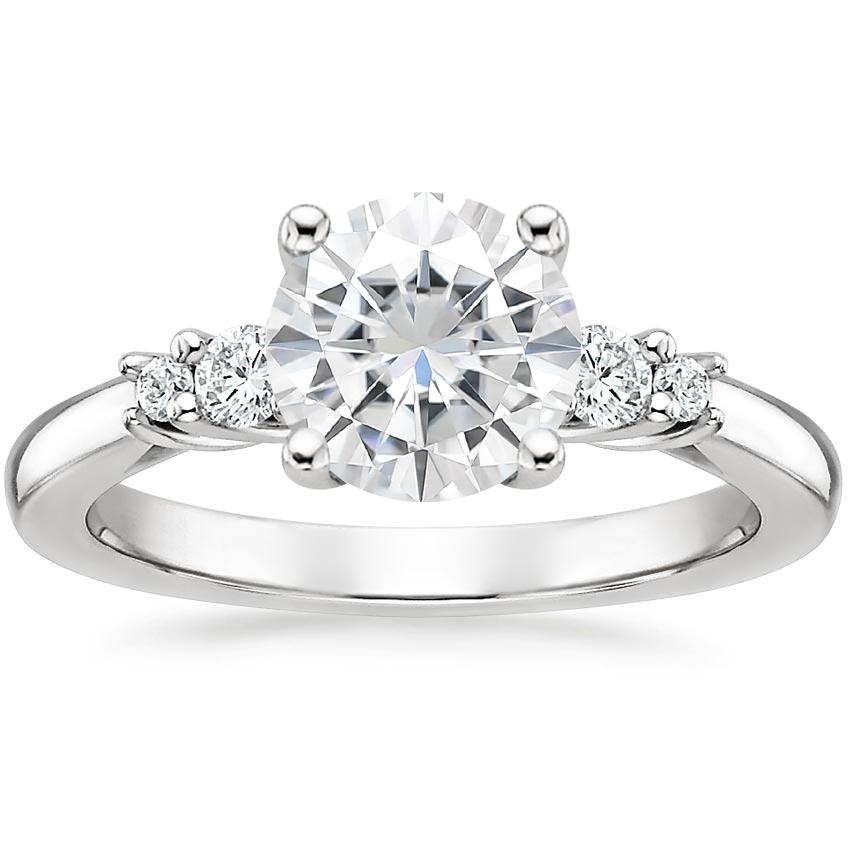 Moissanite Rialto Diamond Ring in 18K White Gold