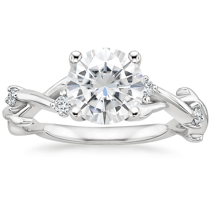 Moissanite Liana Diamond Ring in 18K White Gold