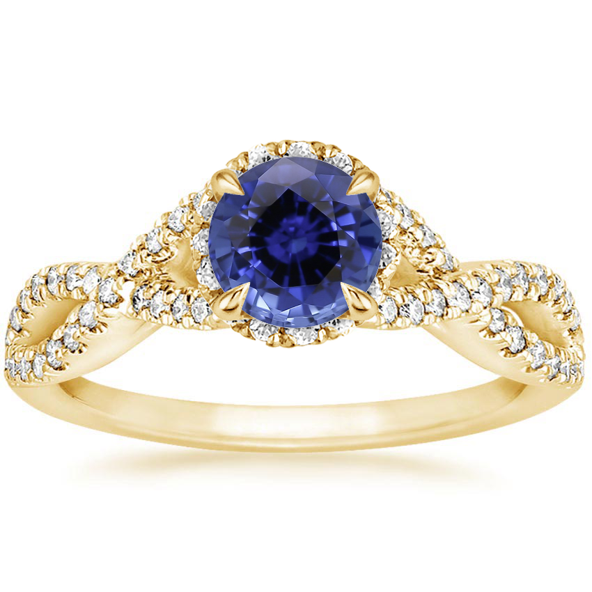 Yellow Gold Sapphire Entwined Halo Diamond Ring (1/3 ct. tw.)